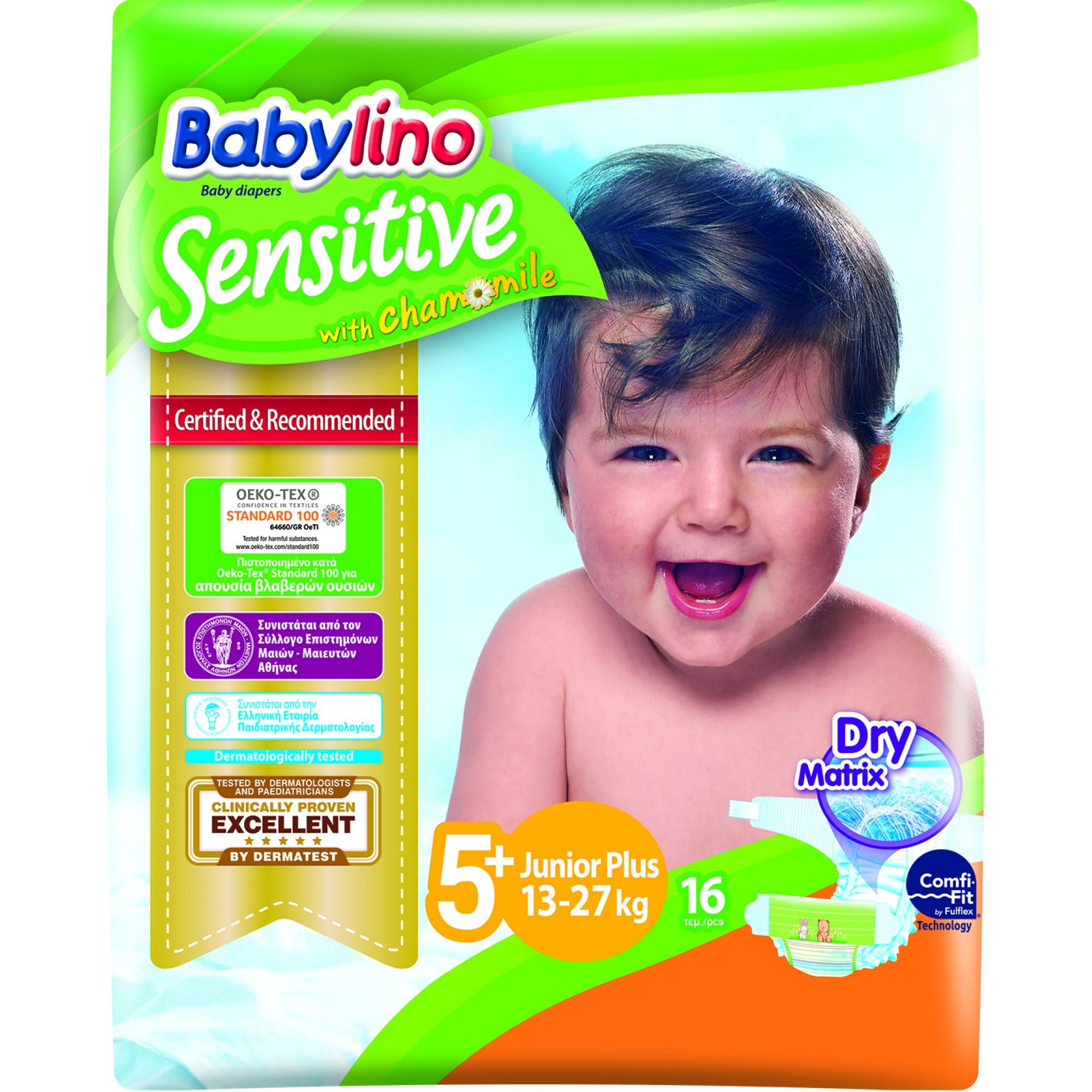 Scutece Babylino Sensitive N5+, 13-27KG, 16 buc