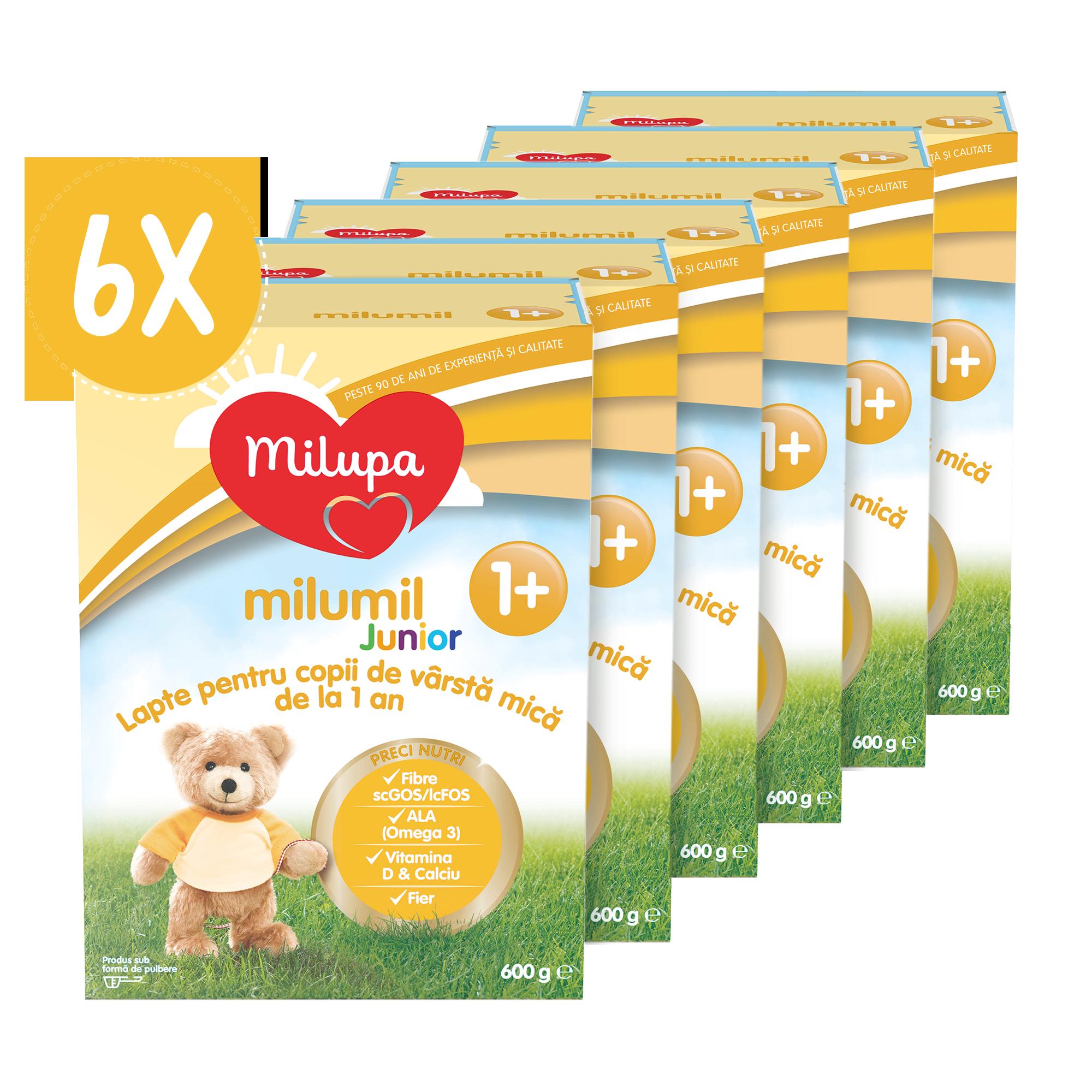 Pachet 6 x Lapte praf Milupa Milumil Junior 1+, 600g, 12luni+