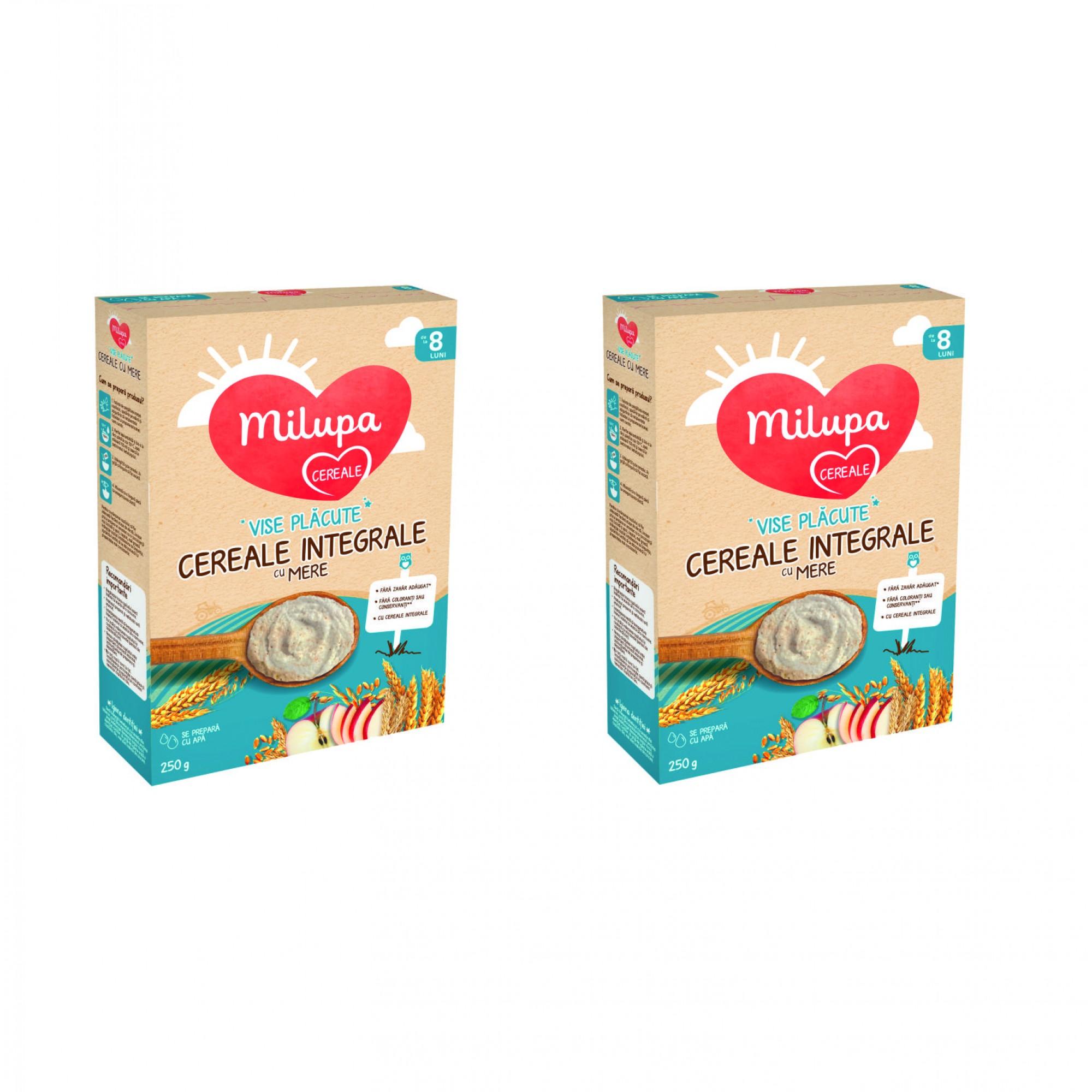 Pachet 2 x Milupa Vise Placute Cereale integrale cu mere