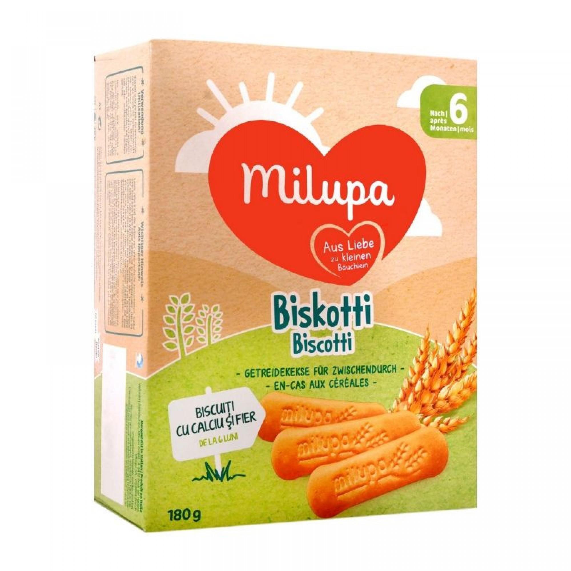 Biscuiti Milupa din faina de grau, Biscotti, 180g, 6luni+