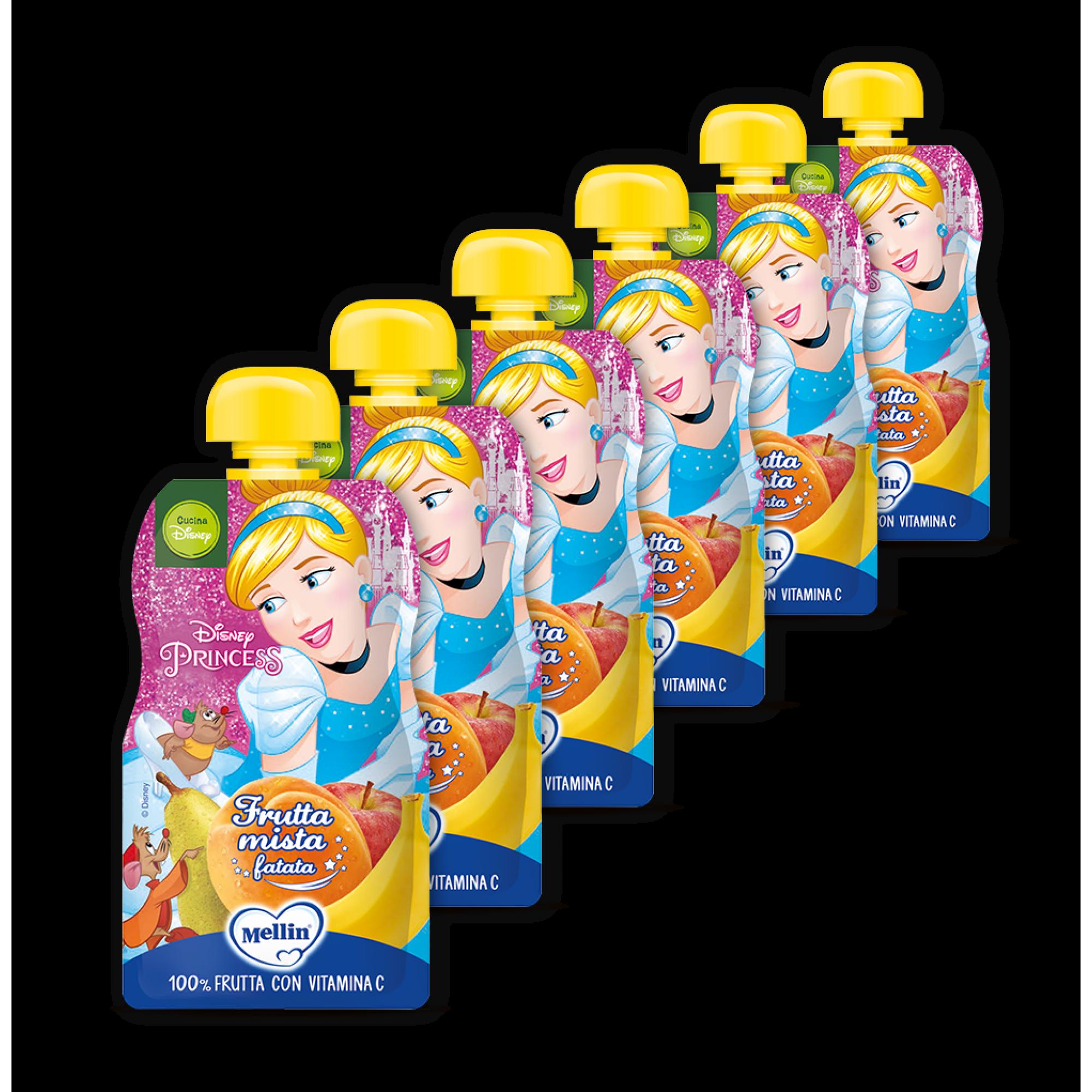Pachet 6 x Mellin Piure Cocktail de Fructe Disney Princesses, 110g