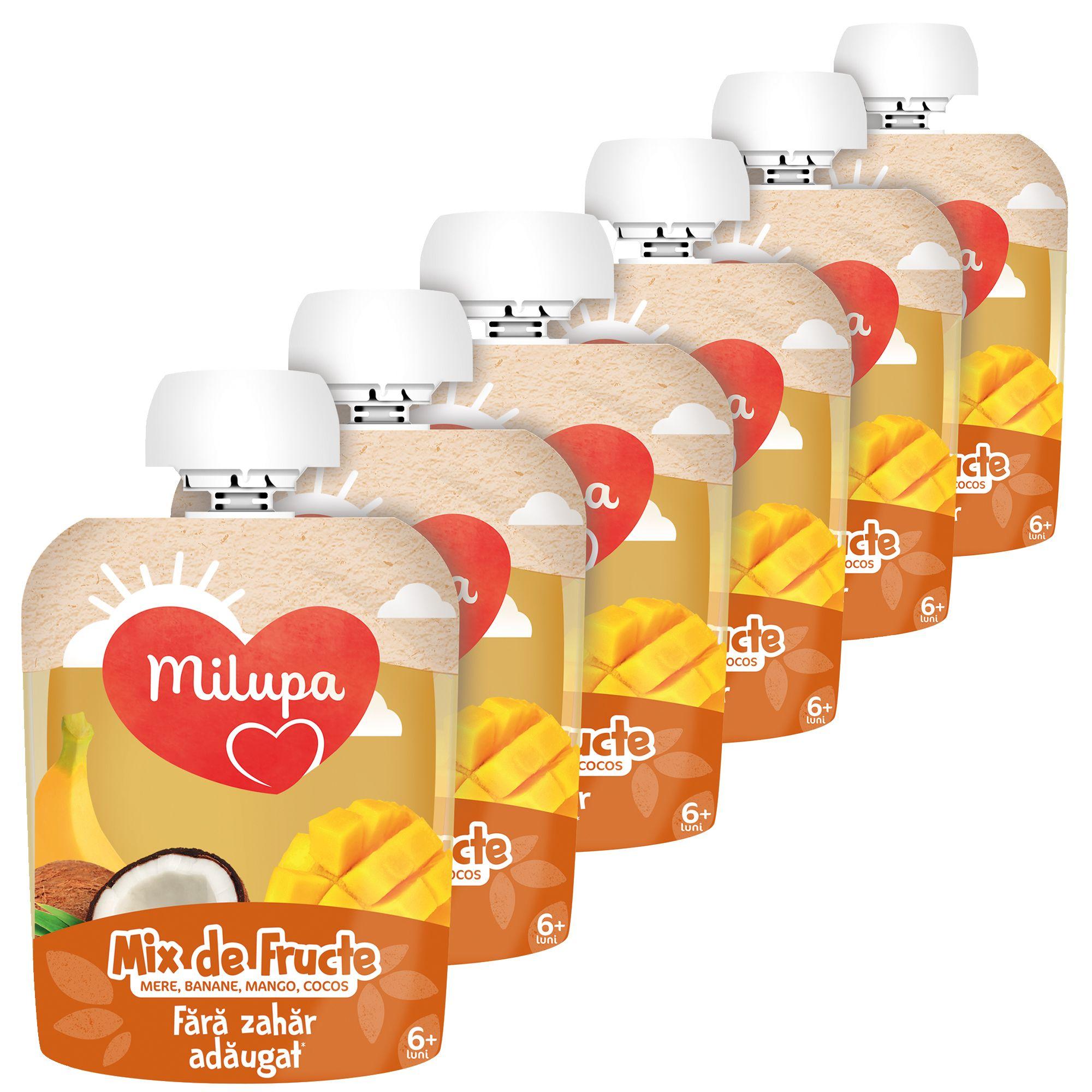 Pachet 6 x Mix de fructe (mere, banana, mango, cocos), Milupa, 90g