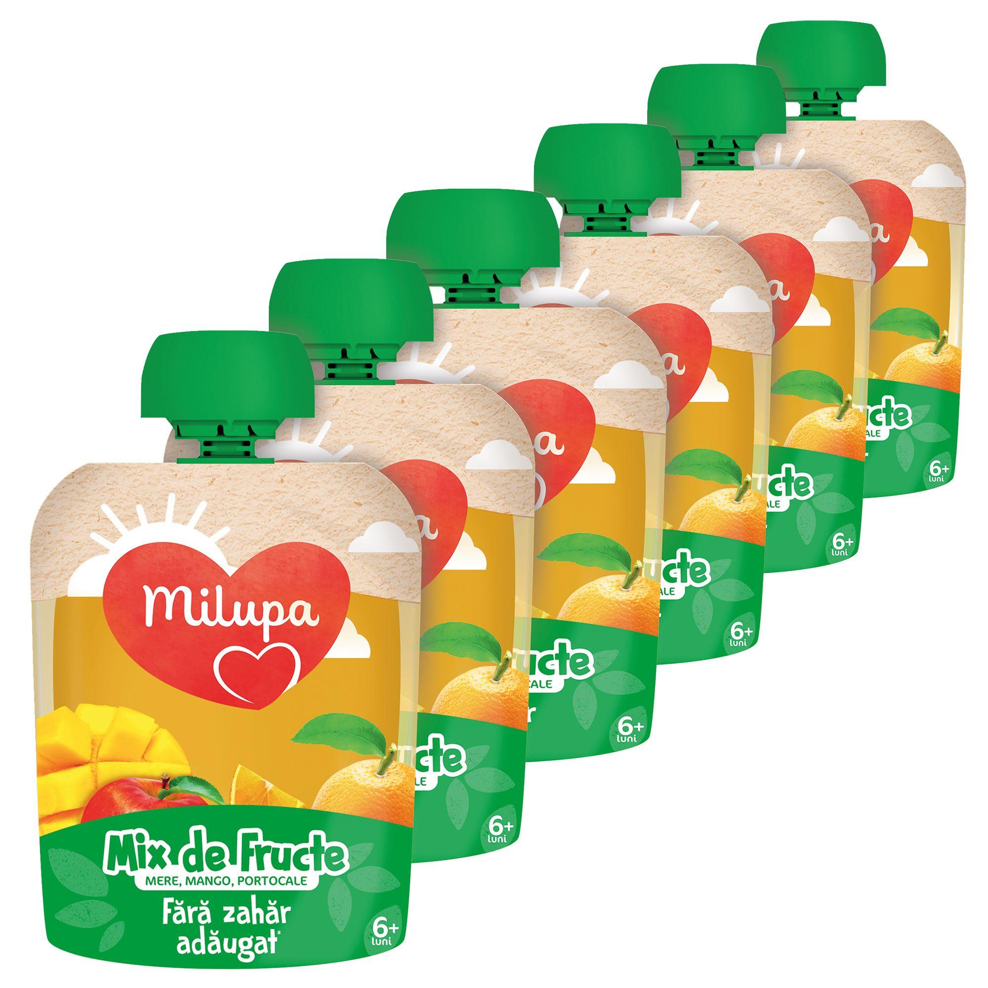 Pachet 6 x Piure de Fructe(mere, mango, portocale) 90g