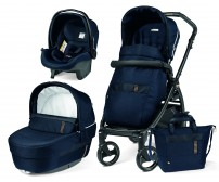 Carucior 3 In 1, Peg Perego, Book 51, Black, and Gold, Rock Navy
