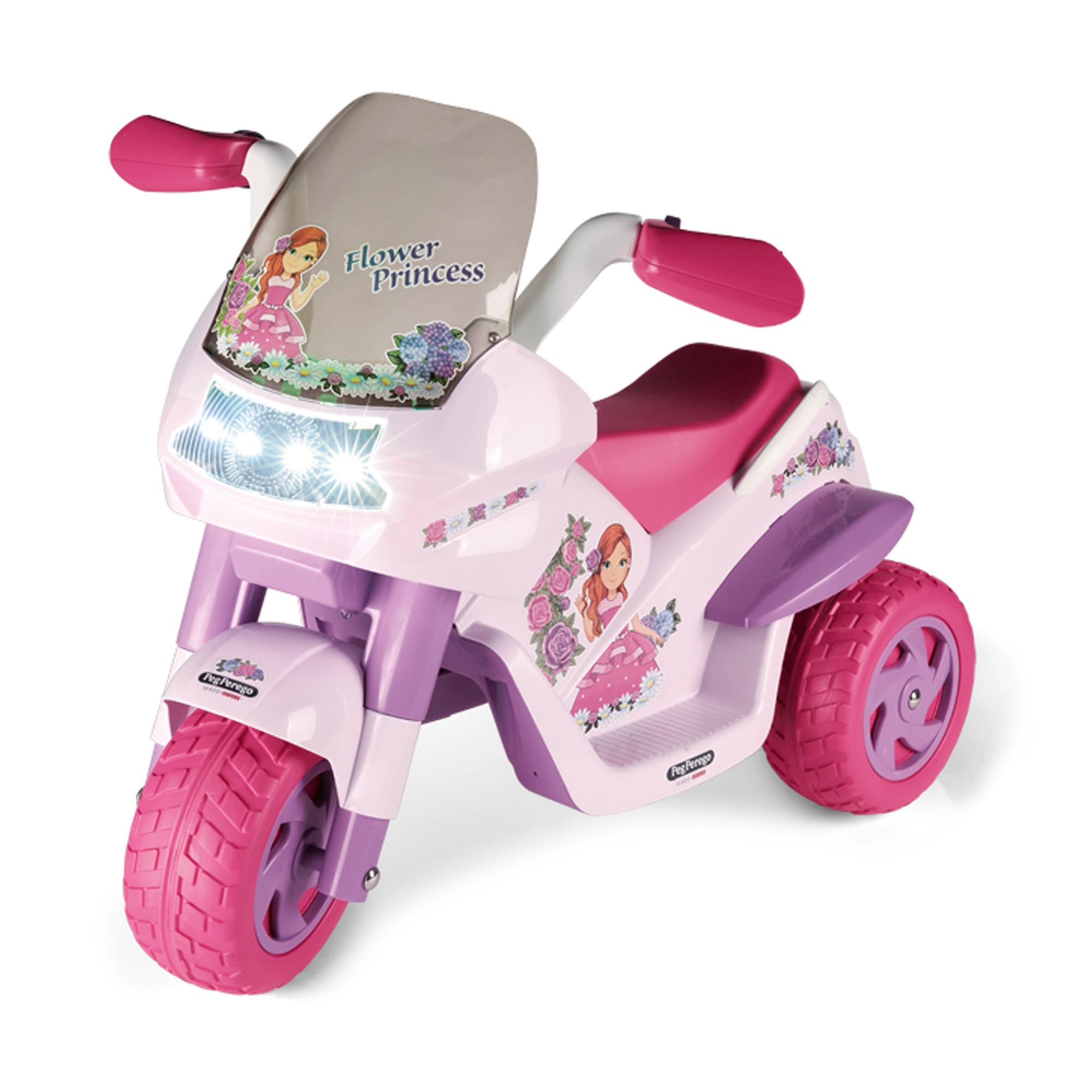 Motocicleta electrica Peg Perego Flower Princess, 6V, 2 ani +, Roz/Mov