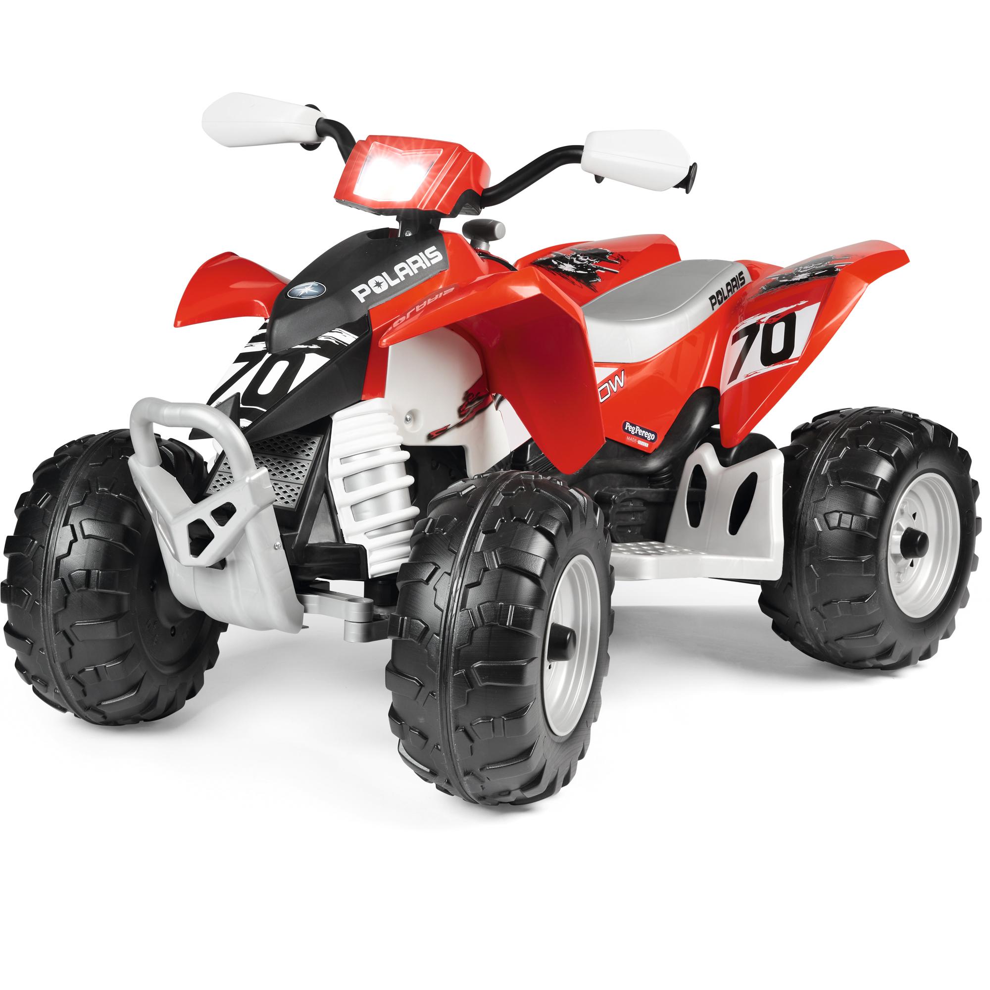 ATV Peg Perego Polaris Outlaw 330 W, 12V, 3 ani+, Negru / Rosu