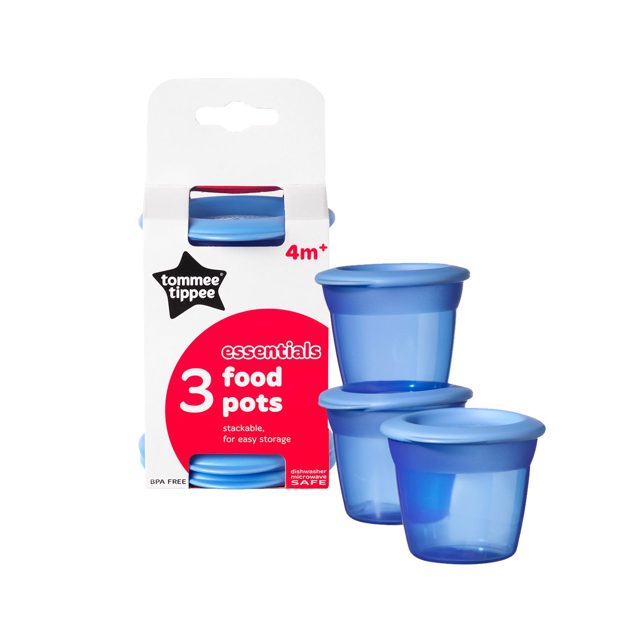 Recipiente de stocare hrana cu capac, Tommee Tippee, 3 buc, Albastru