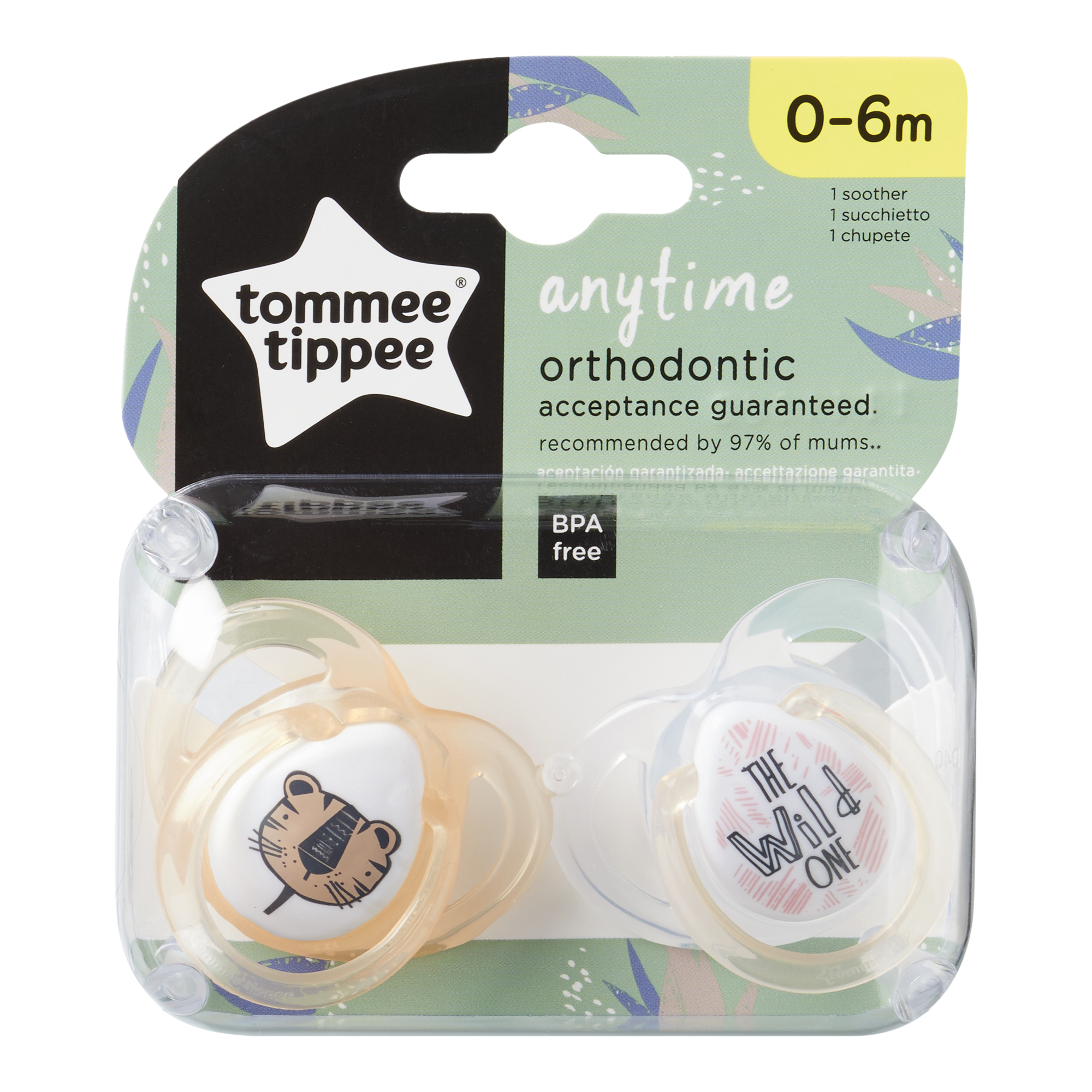Set Suzete Ortodontice Anytime, Tommee Tippee, 0-6 Luni, 2 buc, Tigrut Portocaliu