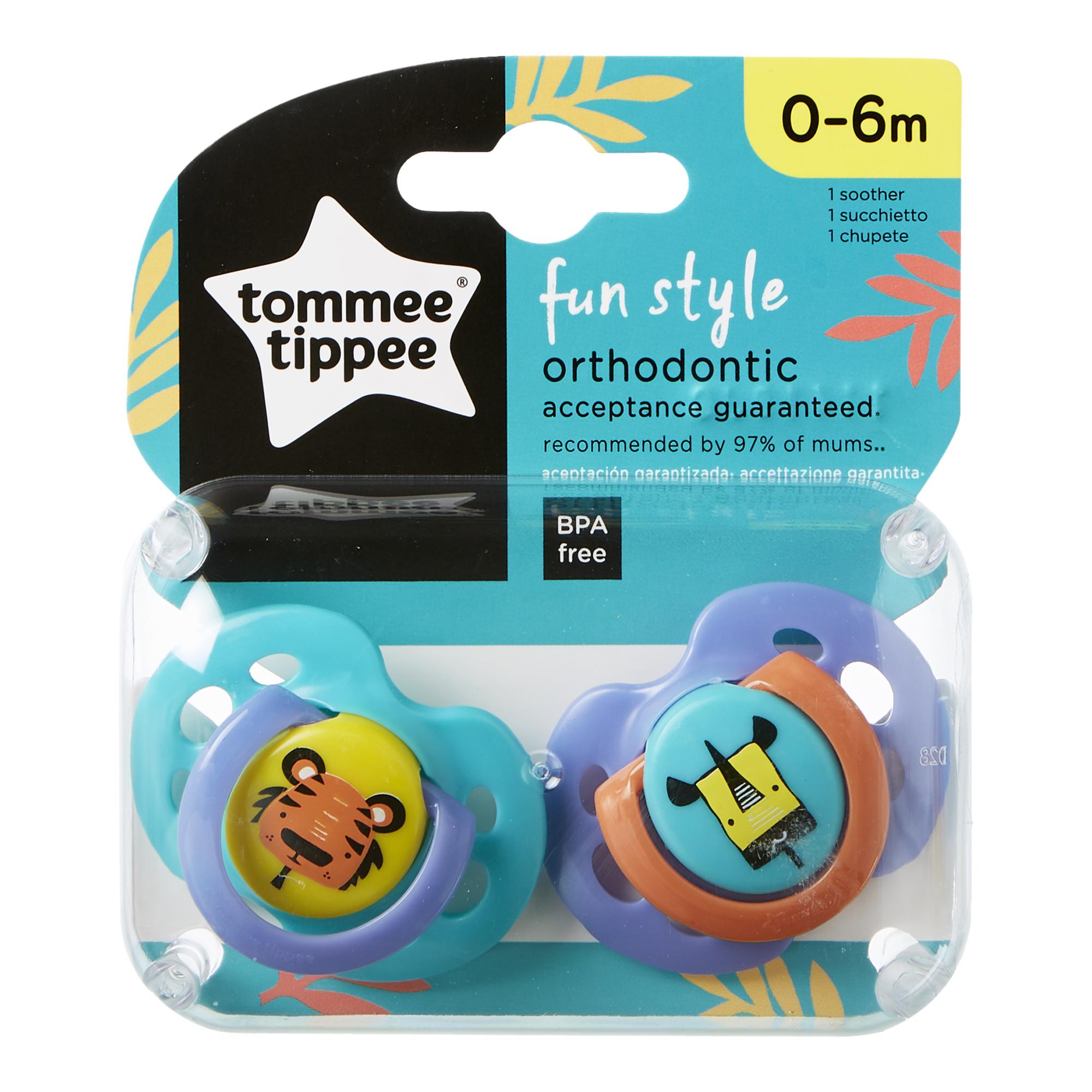 Set Suzete Ortodontice de Zi FUN, Tommee Tippee, 0-6 Luni, 2 buc, Tigru / Girafa