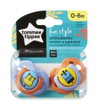 Set Suzete Ortodontice de Zi FUN, Tommee Tippee, 0-6 Luni, 2 buc, Hipopotam / Girafa