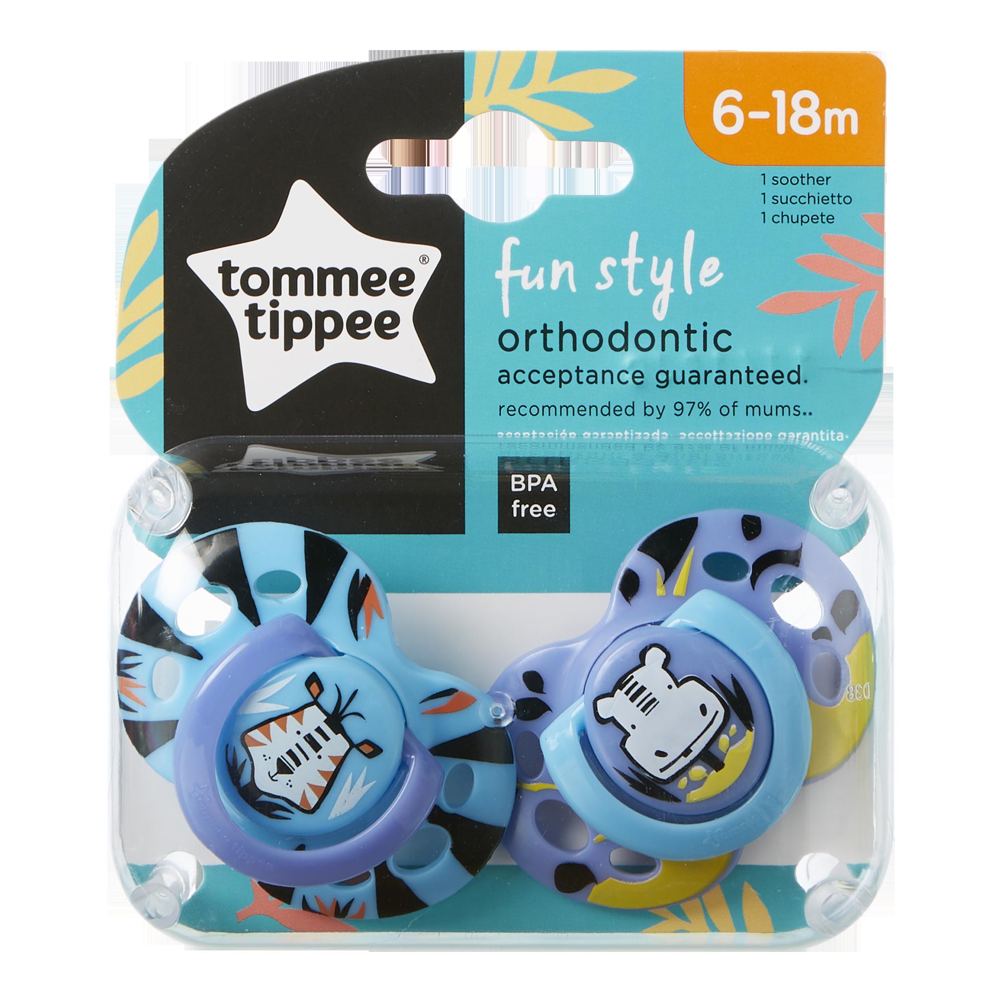 Set Suzete Ortodontice de Zi FUN, Tommee Tippee, 6-18 Luni, 2 buc, Tigru / Hipopotam