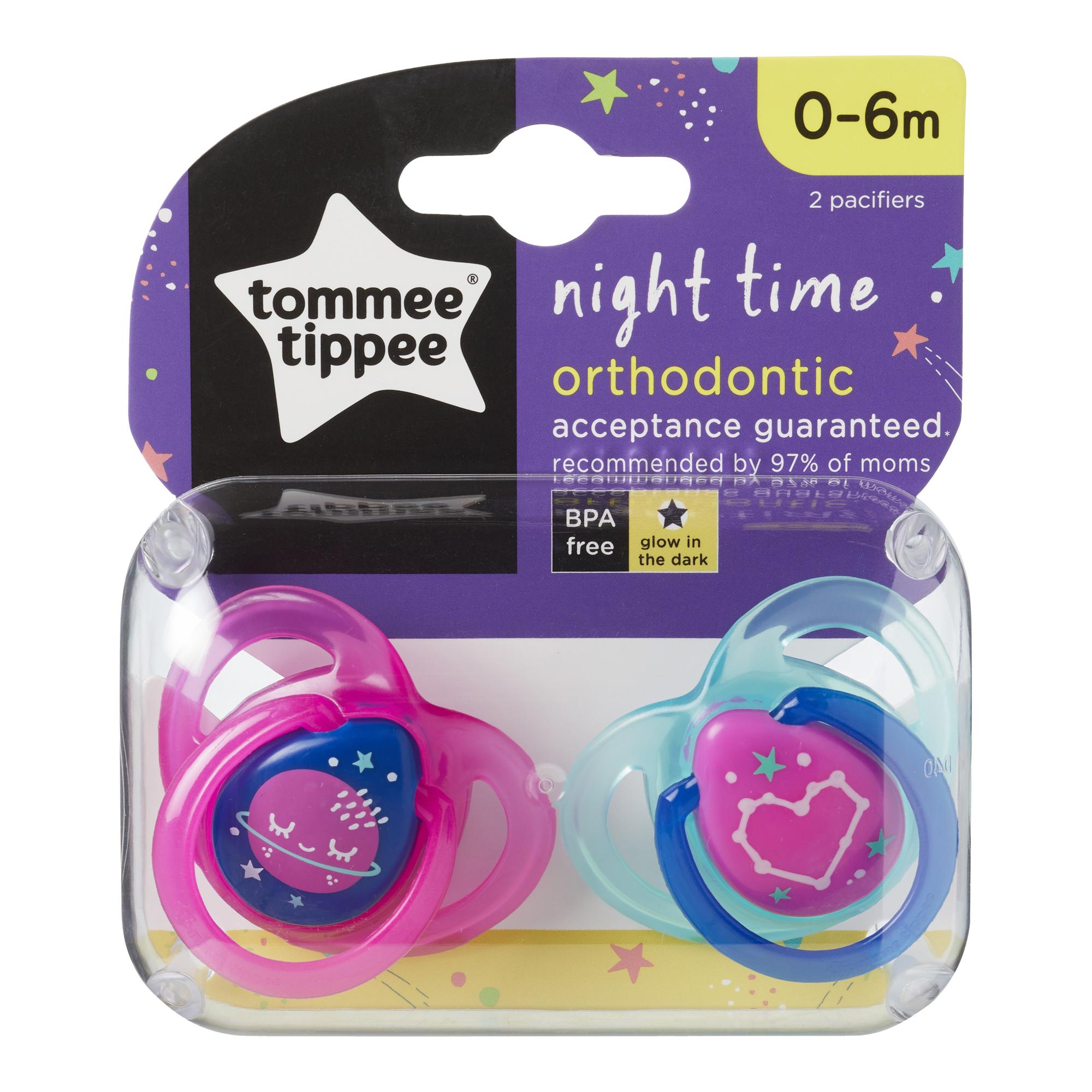 Set Suzete Ortodontice de Noapte, Tommee Tippee, 0 - 6 Luni, 2 buc, Roz / Bleu