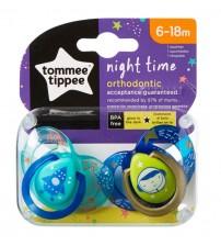 Set Suzete Ortodontice de Noapte, Tommee Tippee, 6-18 Luni, 2 buc, Astronaut Baietel