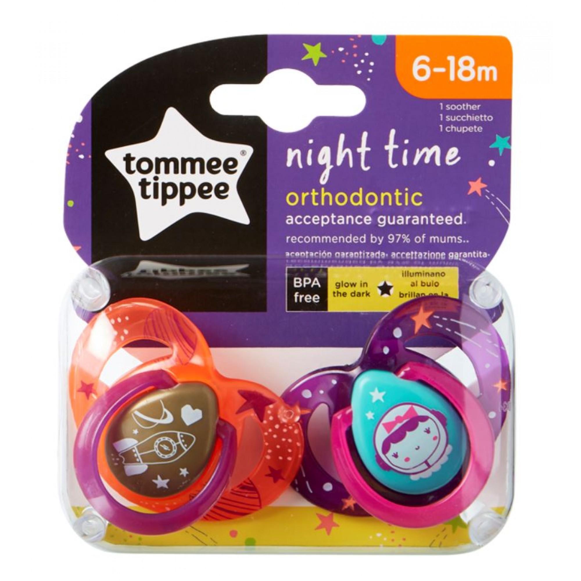 Set Suzete Ortodontice de Noapte, Tommee Tippee, 6-18 Luni, 2 buc, Astronaut Fetita
