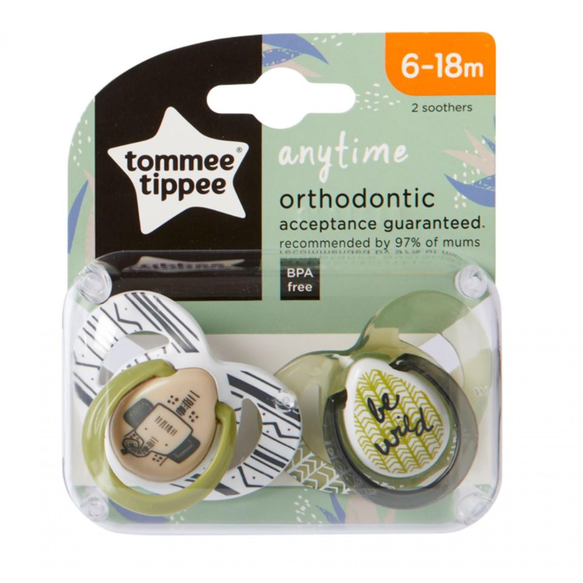 Set Suzete Ortodontice Anytime, Tommee Tippee, 6-18 Luni, 2 buc, Elefantel