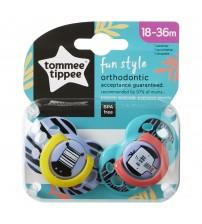 Suzete Ortodontice Fun, Tommee Tippee, 18-36 luni, 2 buc, fete, Zebra / Elefant