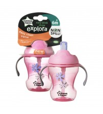 Cana Easy Drink cu pai Explora, Tommee Tippee, 230ml,Floricele Roz