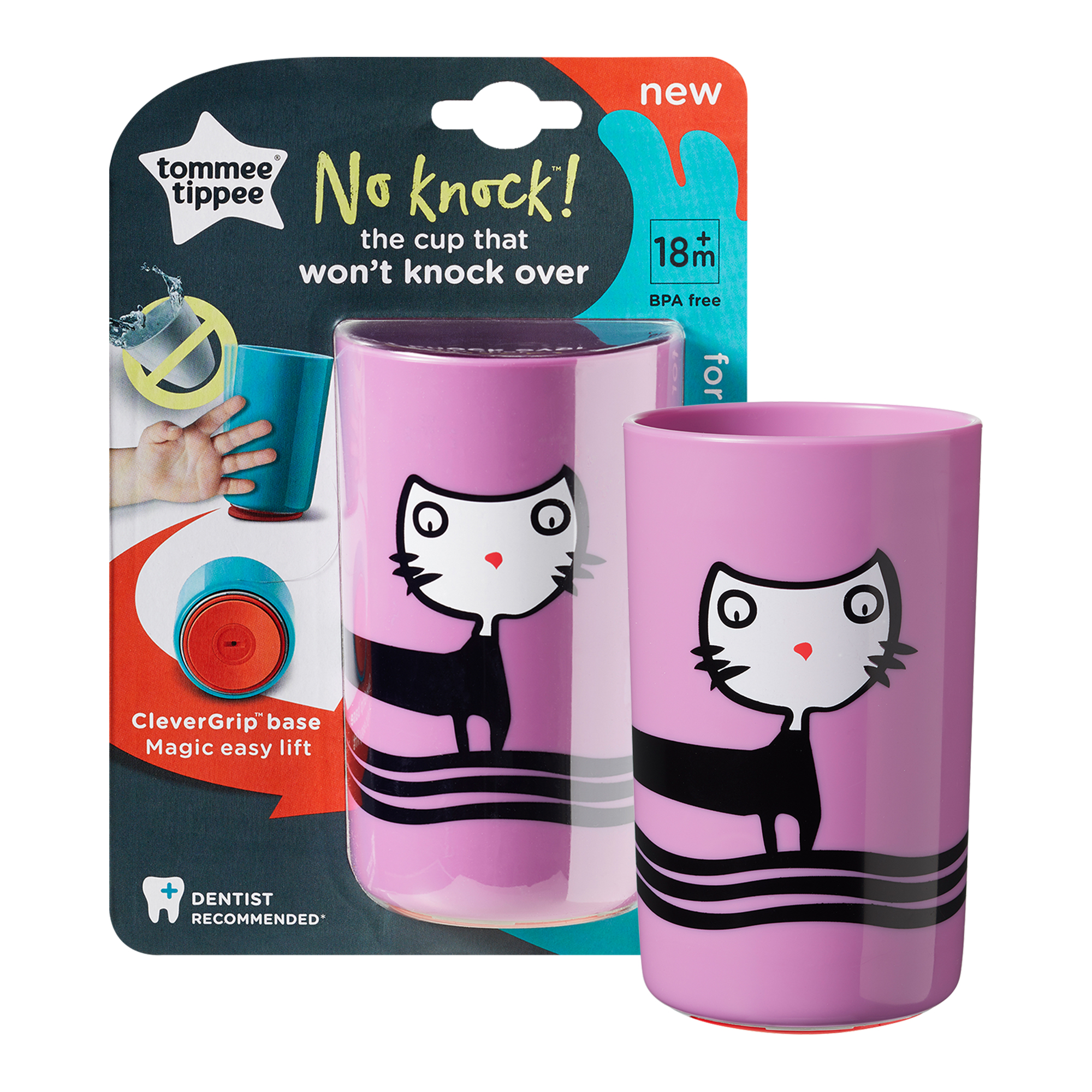 Cana No Knock Large, Tommee Tippee, 300 ml, Pisicuta Roz