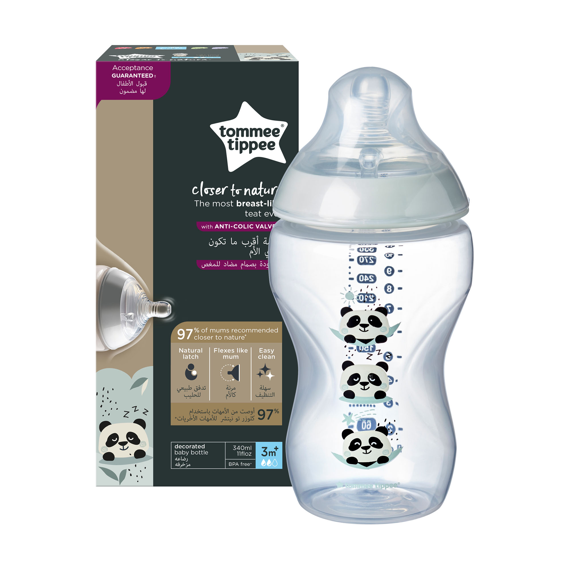 Biberon Tommee Tippee Closer to Nature, 340 ml, PP, Ursuleti Panda, 3 luni +, 1 buc