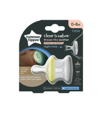 """Suzeta de noapte Tommee Tippee Closer to Nature """"Breast like soother"""", 0-6 luni, Alb/Galben, 2 buc"""