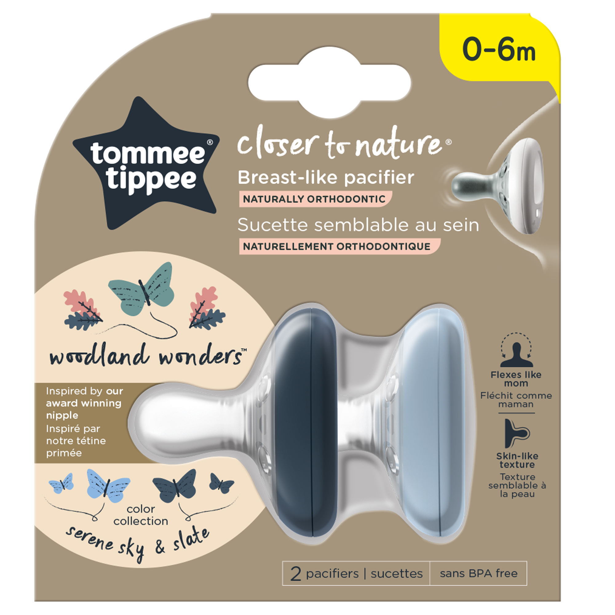 """Suzeta Tommee Tippee Closer to Nature, 0-6 luni """"Breast like pacifier"""", Gri Inchis-Gri Deschis, 2 buc"""