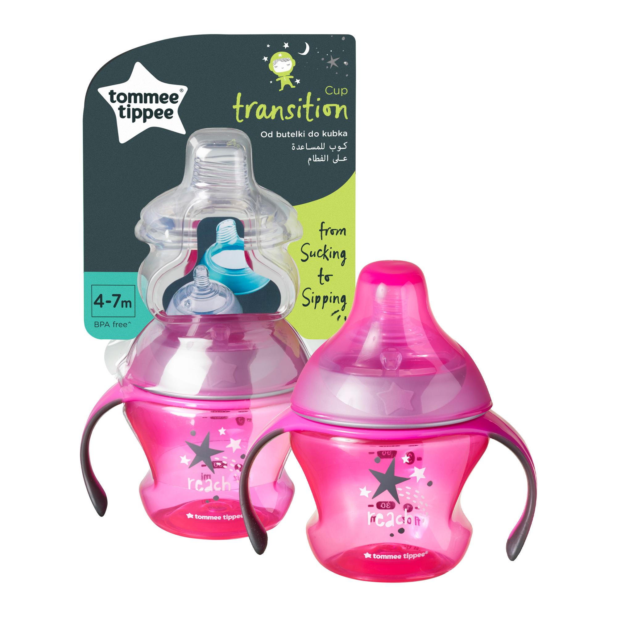 Cana de tranzitie Tommee Tippee, 150 ml, 4-7 luni, Roz, 1 buc