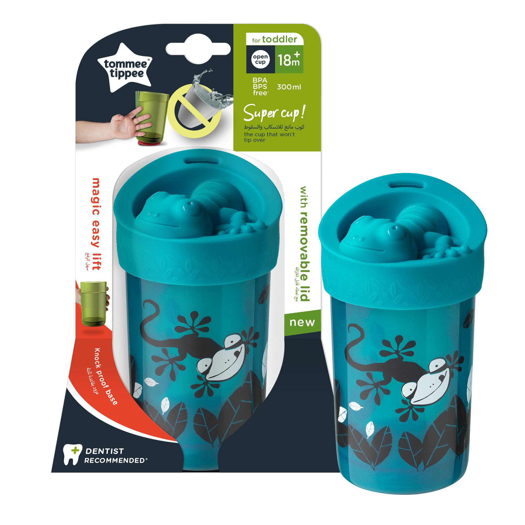 Cana Tommee Tippee No Knock Large cu capac, 300 ml, 18 luni +, Soparlita verde, 1 buc