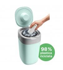 Cos pentru scutece Tommee Tippee Sangenic Twist and Click Reciclabil, Verde/Gri