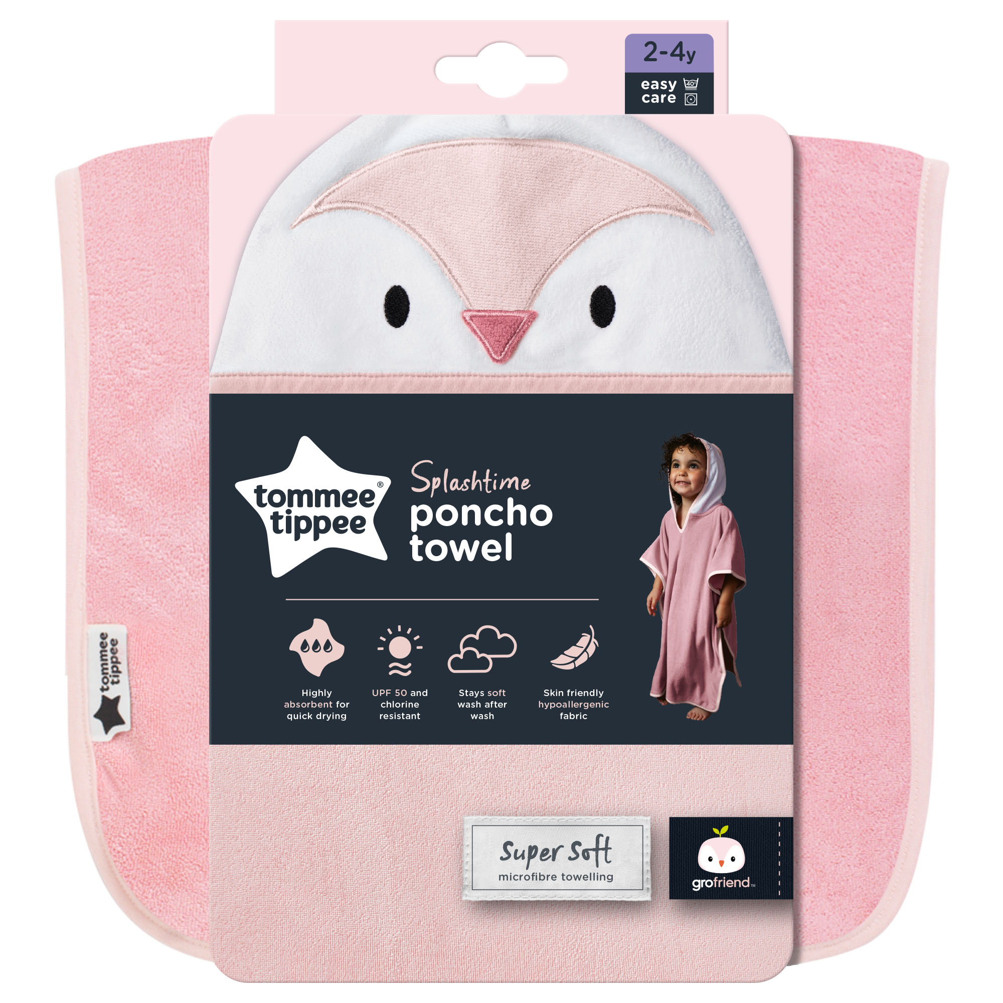 Halat de baie tip Poncho Tommee Tippee, (2-4 ani), Pinguinul Penny, Roz