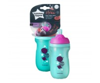 Cana cu pai izoterma,Tommee Tippee, 260 ml x 1 buc, 12 luni+, Roz / Turquoise
