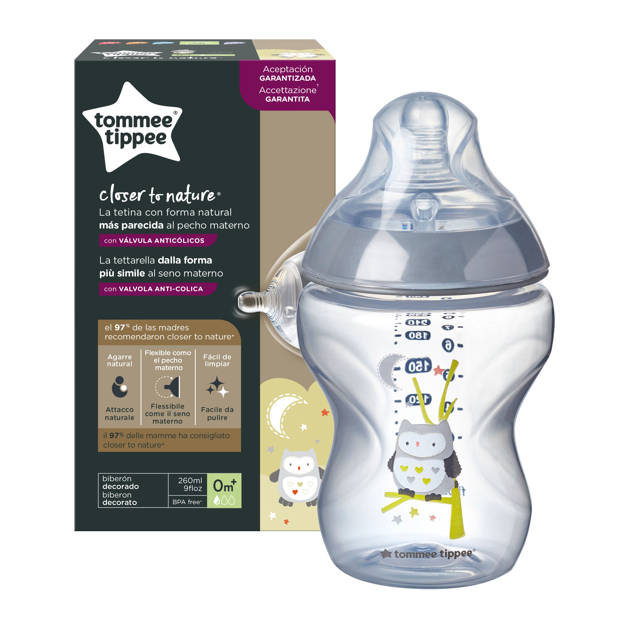 Biberon Tommee Tippee Closer to Nature, 260 ml, PP, Bufnita, 0 luni +, 1 buc