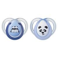 Suzeta ortodontica Tommee Tippee Anytime, 0-6 luni, Ursuleti Panda, Albastru-Alb, 2 buc