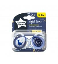 Suzeta ortodontica de noapte Tommee Tippee, 0-6 luni, Narval, 2 buc
