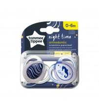 Suzeta ortodontica de noapte Tommee Tippee, 0-6 luni, Calut de mare, 2 buc