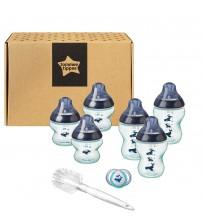 Kit biberoane nou nascut, ONL  Unisex Tommee Tippee, 0luni+, Balenute, Albastru