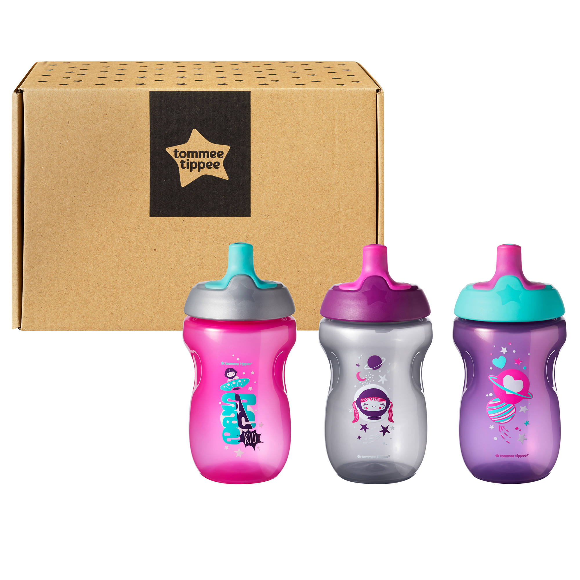 Set cani ONL Fete Tommee Tippee, 300 ml x3 buc, 12luni+, Roz