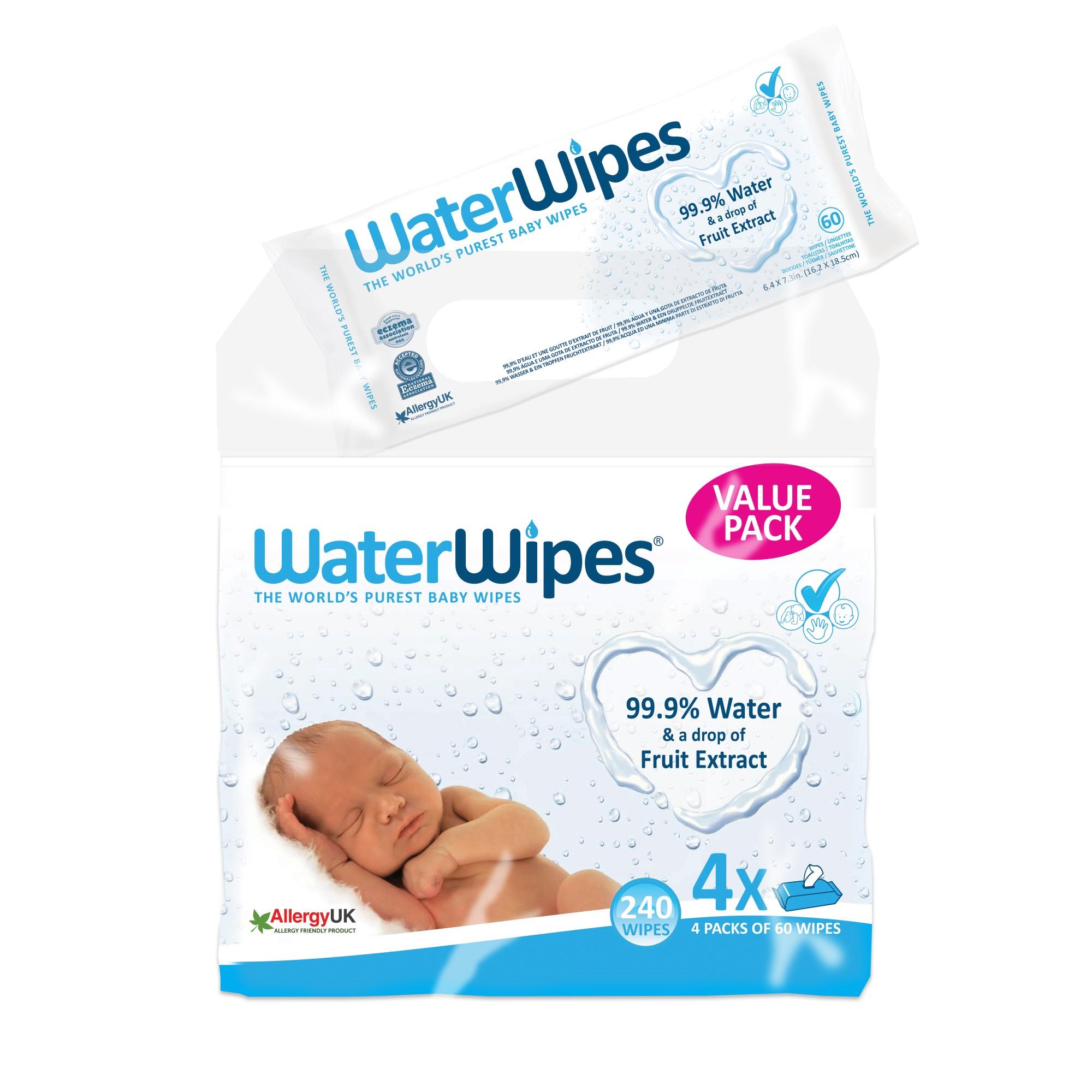 Servetele umede pentru bebelusi WaterWipes 4x60 buc, 0luni +