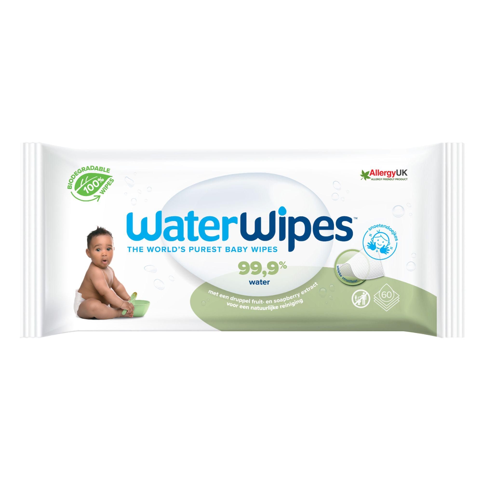 Servetele umede pentru bebelusi Biodegradabile Soapberry, Water Wipes, 60 buc, 0 luni+