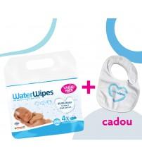 PROMO - Servetele umede pentru bebelusi WaterWipes 4x60 buc + Baveta CADOU