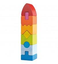 Joc de indemanare, Haba, Geometric Tower, 9 piese, 12luni+
