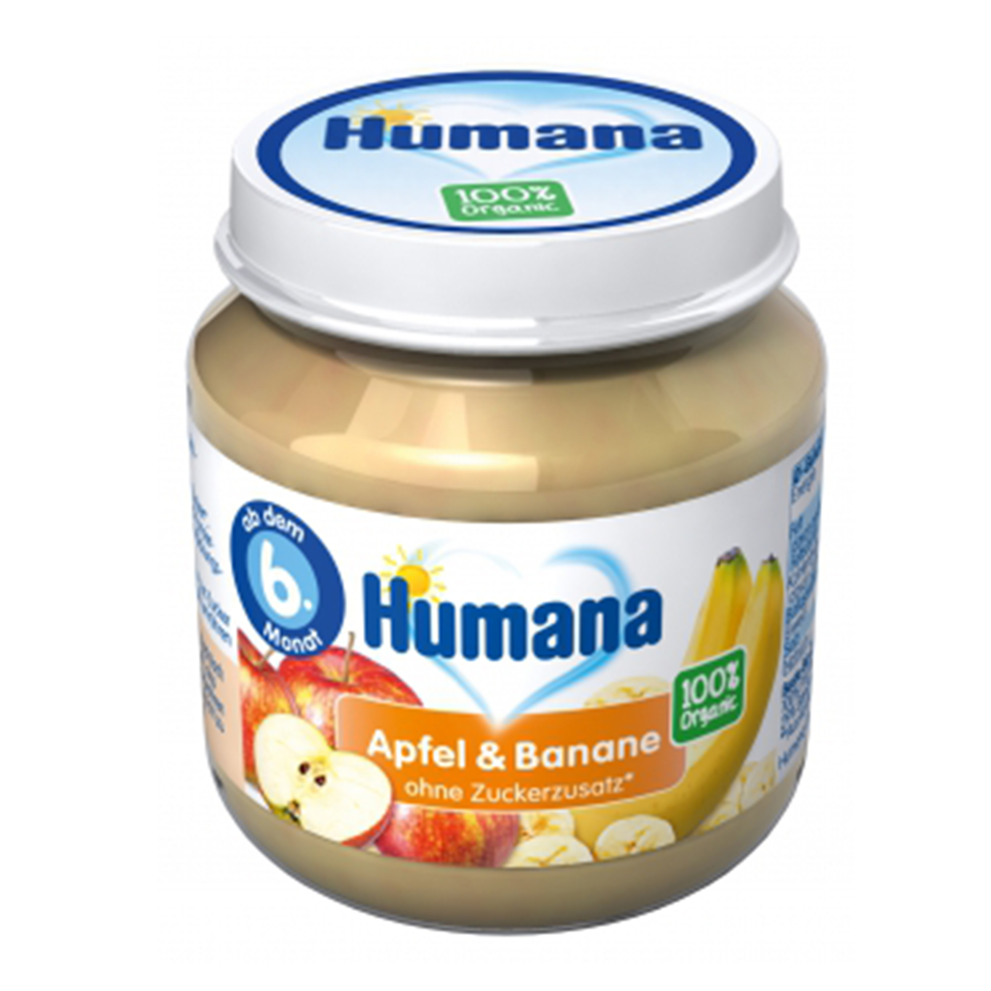 Piure ECO de banane si mere, Humana, 125g, 6luni+