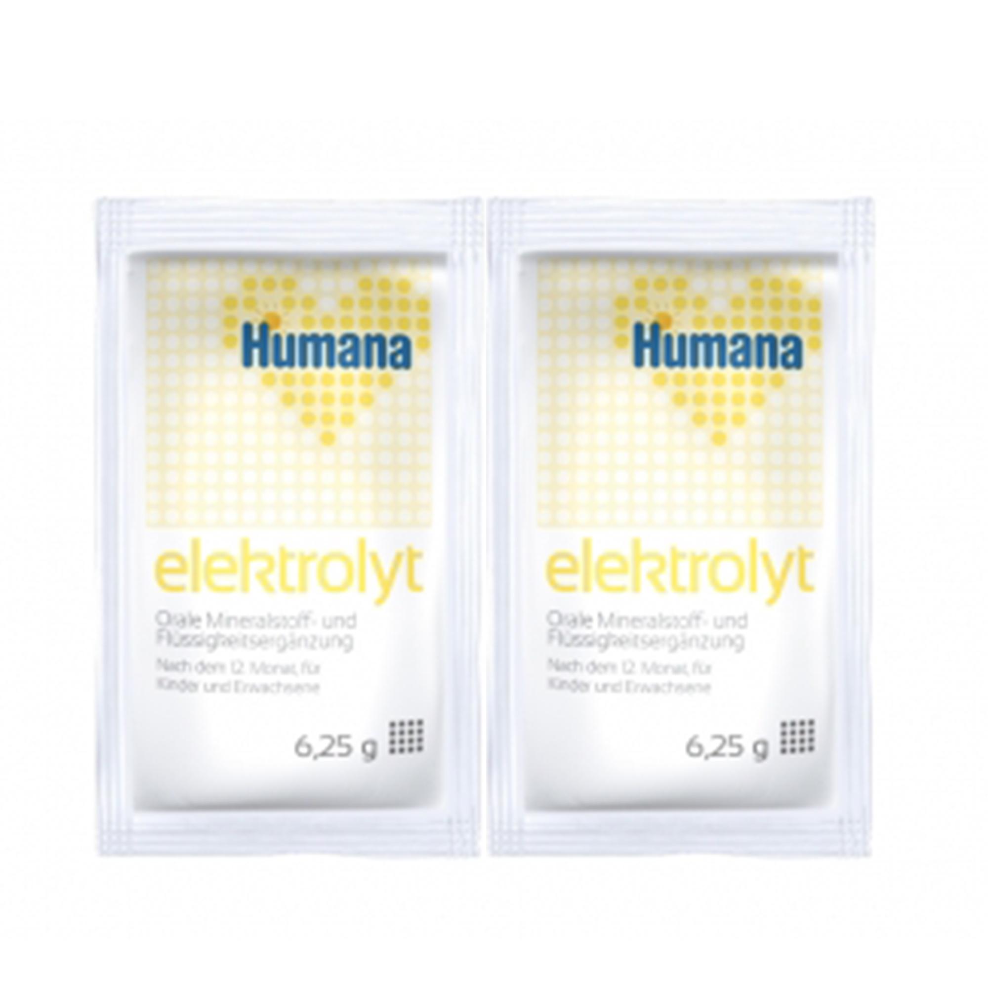 Saruri de hidratare, Humana Elektrolyt cu banane, folie cu 2 plicuri, 12 luni+, 12.5 g