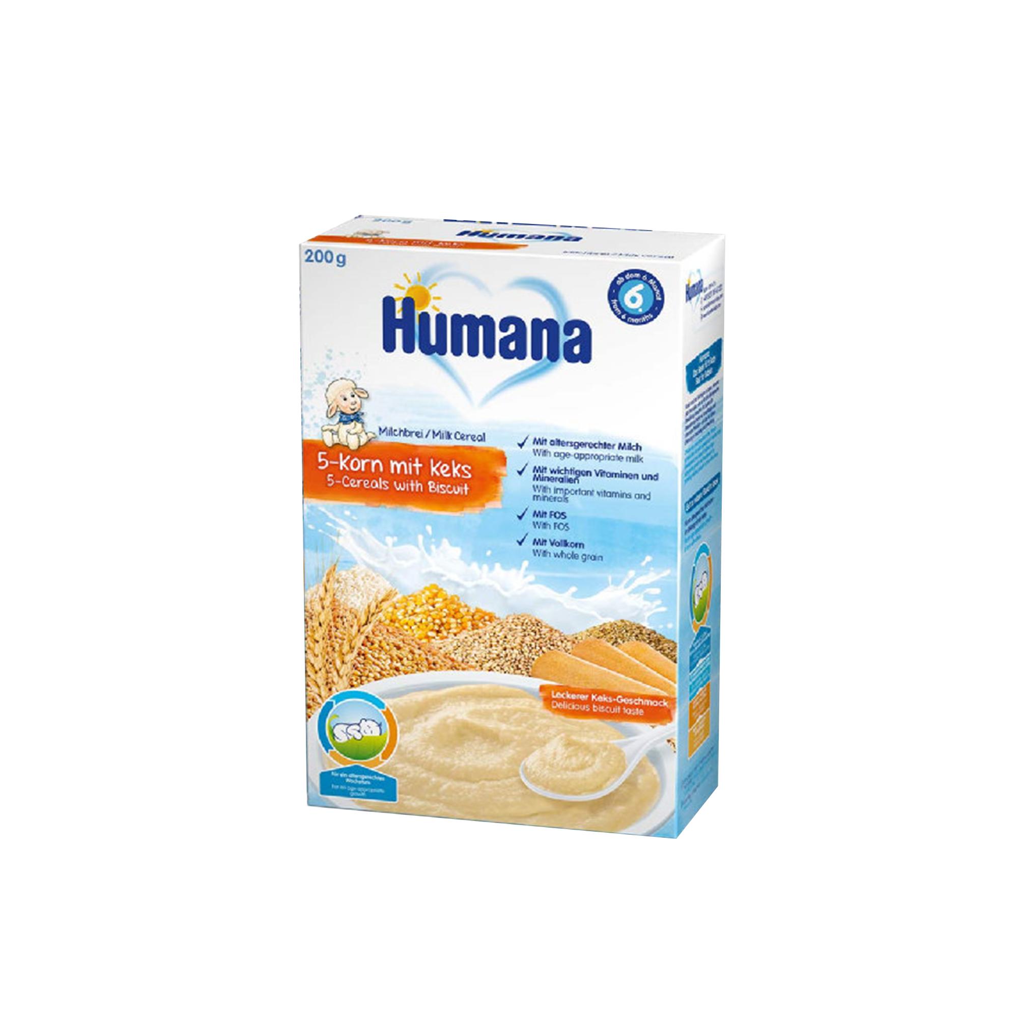 Cereale cu lapte, Humana cu 5 cereale si biscuiti, 200g, 6 luni+