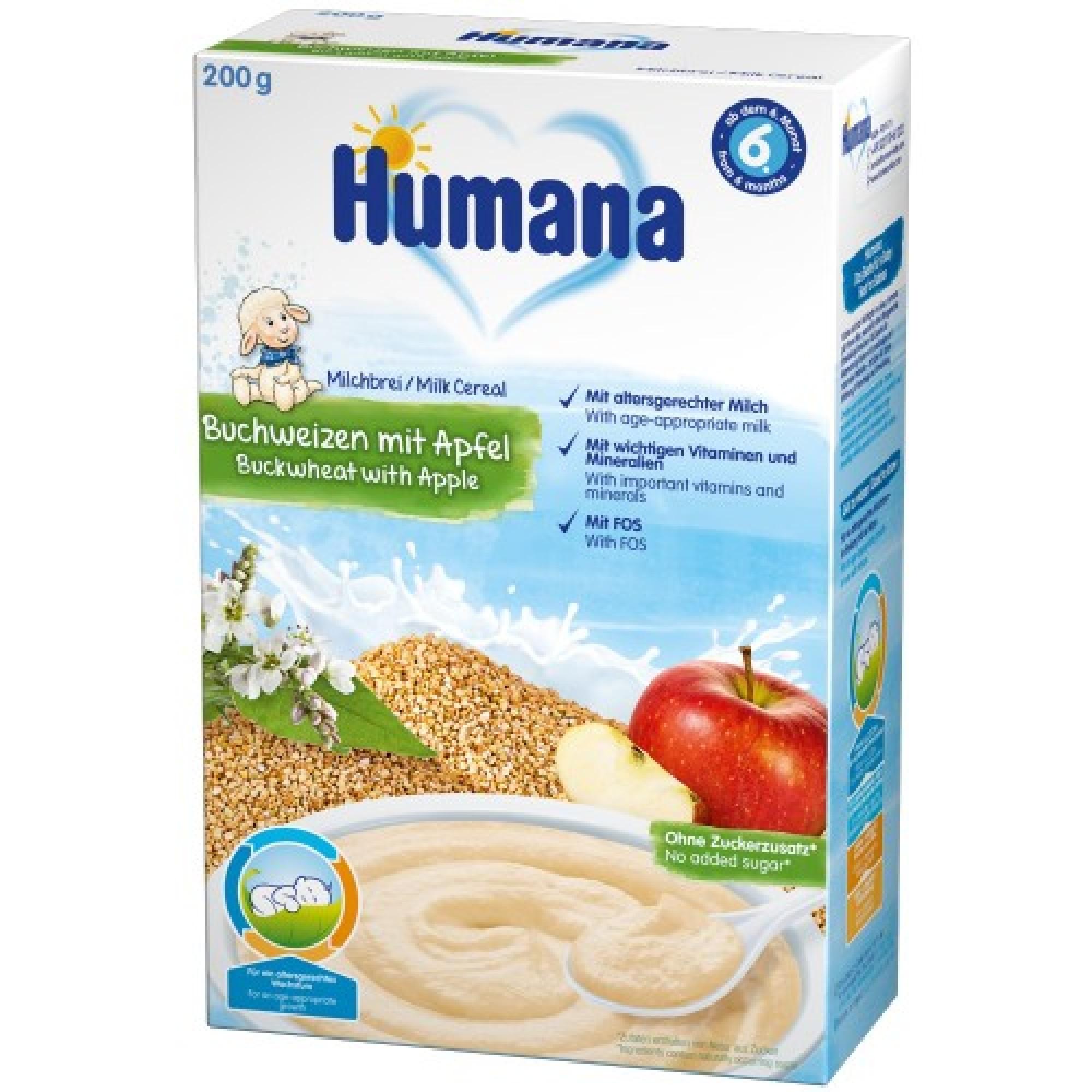Cereale Humana cu lapte, hrisca si mar, 200g, 6 luni+