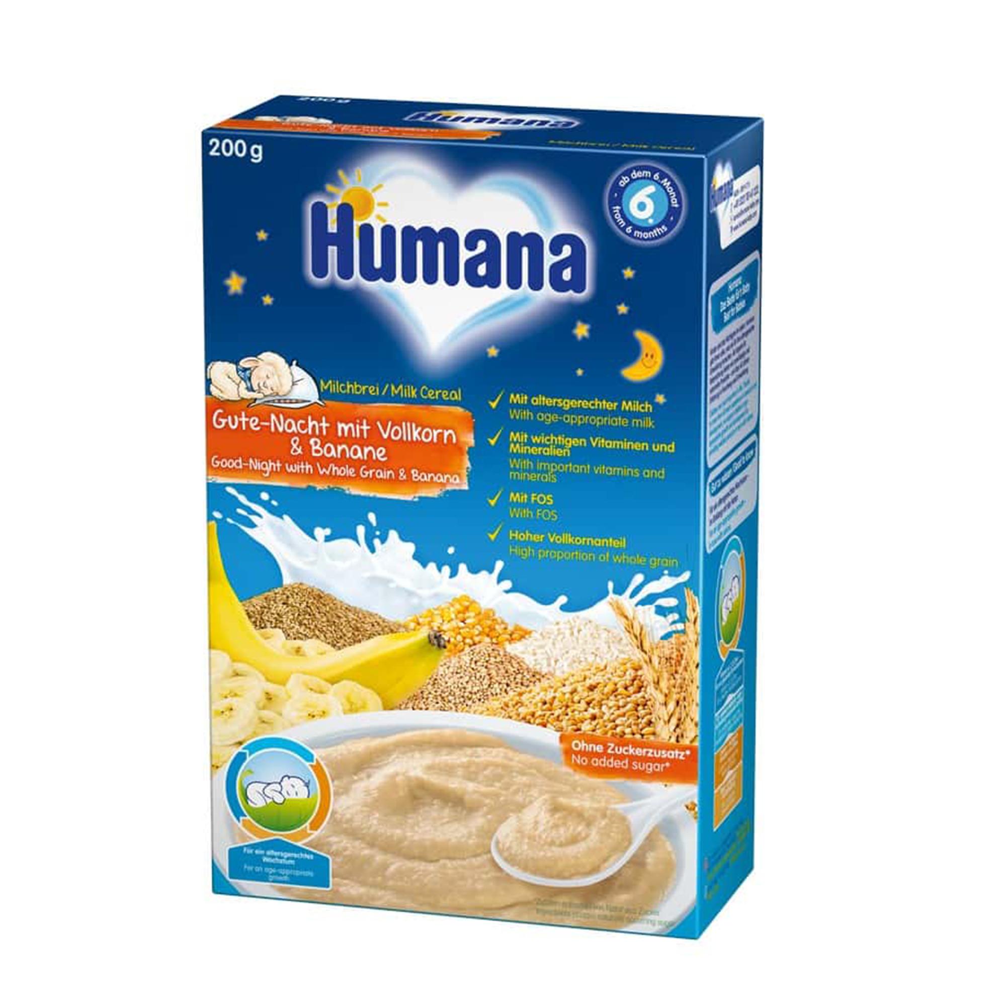 Cereale cu lapte, Humana Noapte Buna, 200g, 6 luni+