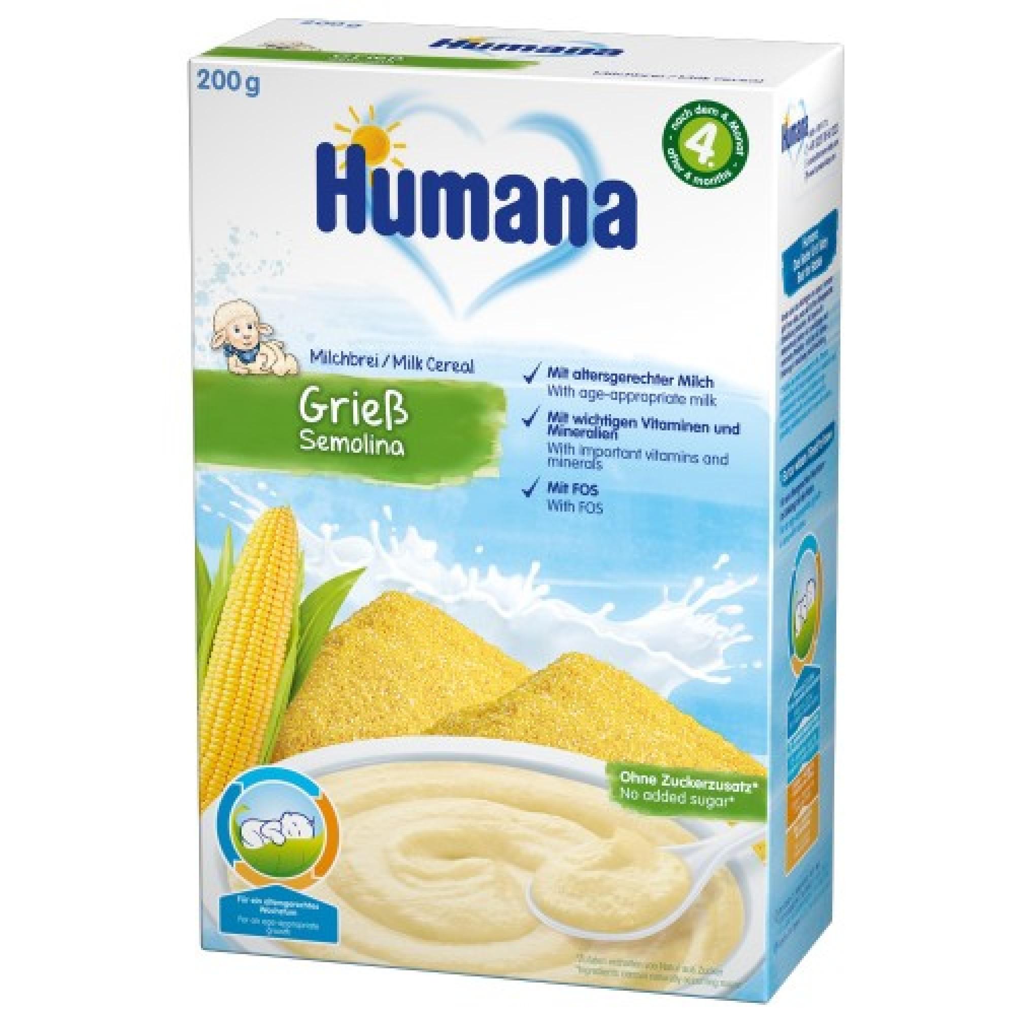 Cereale, Humana Gris cu lapte, 200g, 4 luni+