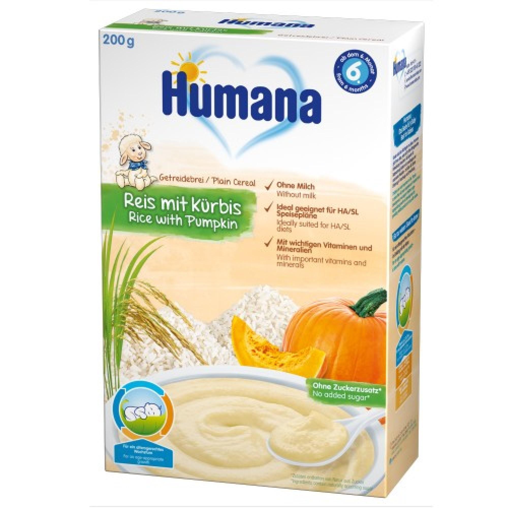 Cereale fara lapte, Humana Orez cu dovleac, 200g, 6 luni+
