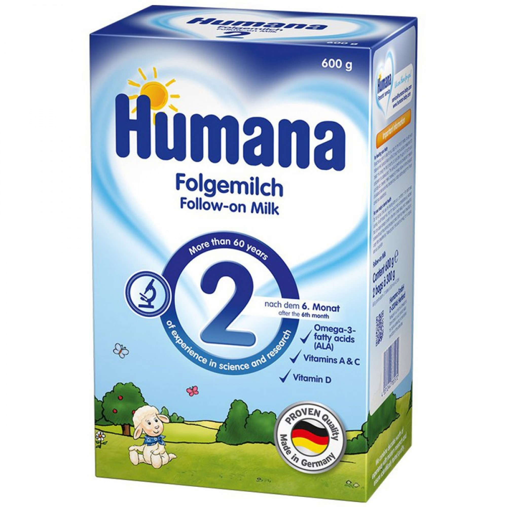 Lapte praf, Humana 2 GOS, 600 g, 6 luni+