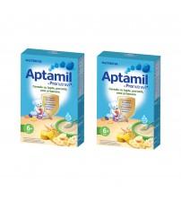 Pachet 2 x Cereale cu lapte Nutricia, Aptamil Porumb, orez si banane, 225g, 6luni+