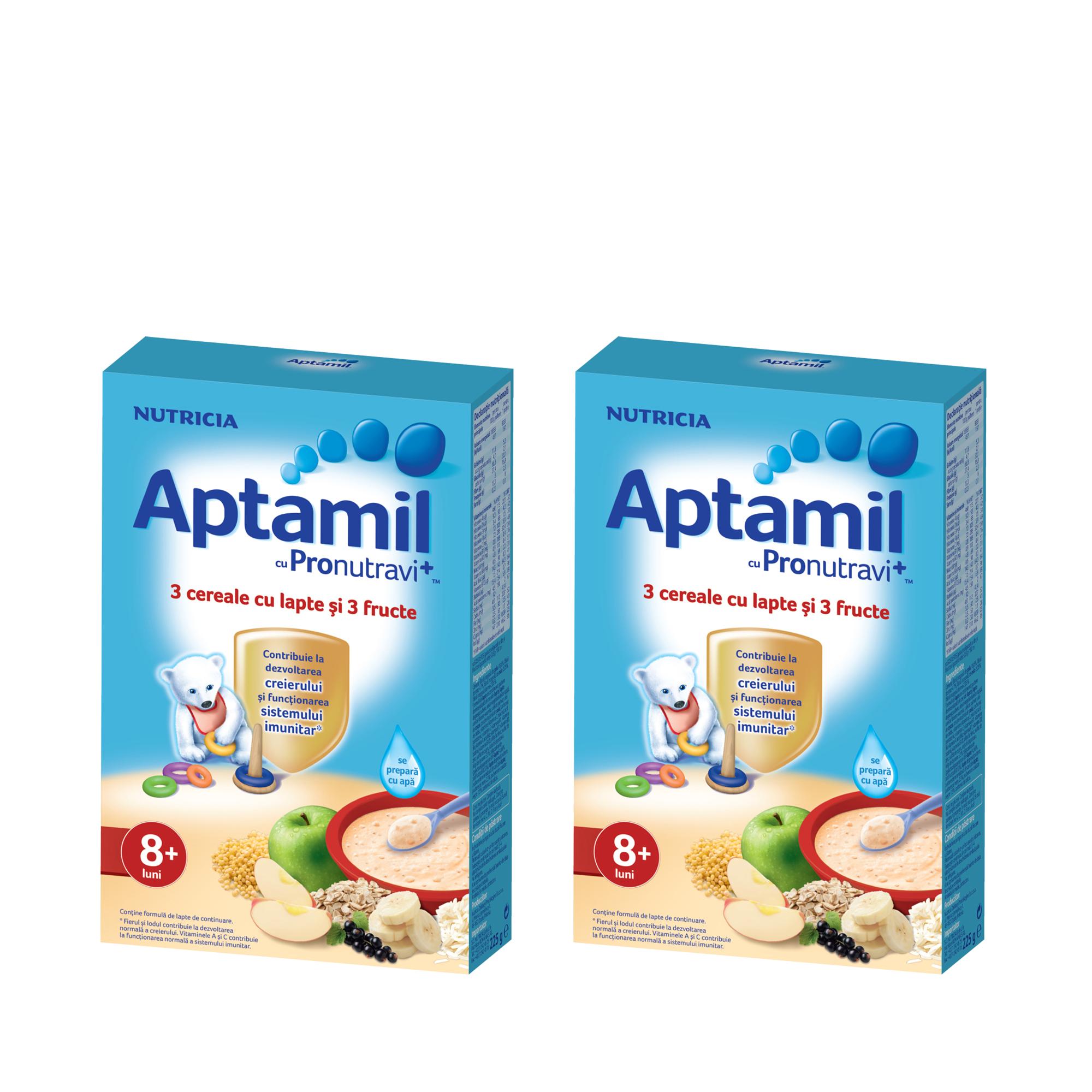 Pachet 2 x Cereale cu lapte Nutricia, Aptamil, 3 cereale si 3 fructe, 225g, 8luni+